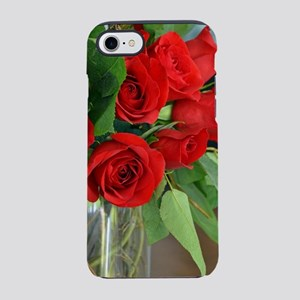 Red wedding roses in vase iPhone 7 Tough Case