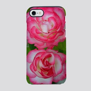 Two pink and white roses iPhone 7 Tough Case