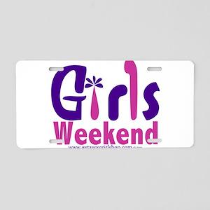 girls_weekend_pink Aluminum License Plate