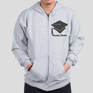 Personalized Gray Graduation Zip Hoodie