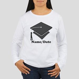 Personalized Gray Graduation Women's Long Sleeve T