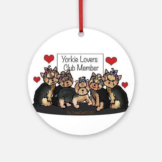 Yorkie Lovers Club Member Ornament (Round)