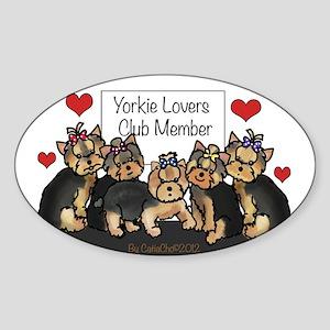 Yorkie Lovers Club Member Sticker (Oval)