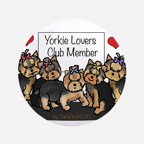 "Yorkie Lovers Club Member 3.5"" Button"
