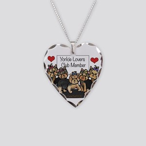 Yorkie Lovers Club Member Necklace Heart Charm