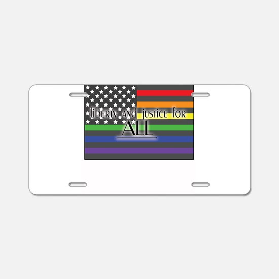 Justice-for-all-white-t.png Aluminum License Plate