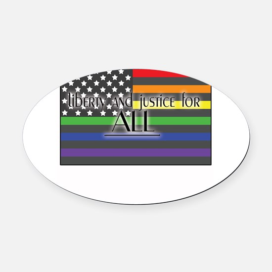 Justice-for-all-white-t.png Oval Car Magnet