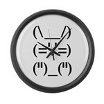 Hip Hop Text Bunny Large Wall Clock
