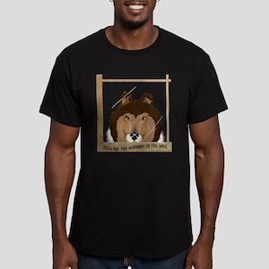Collie Window Men's Fitted T-Shirt (dark)