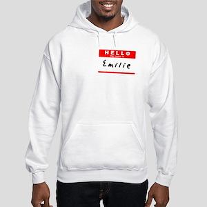 Emilie, Name Tag Sticker Hooded Sweatshirt