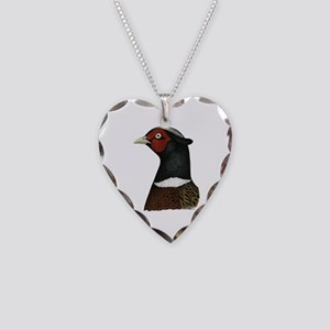 Ringneck Rooster Head Necklace Heart Charm