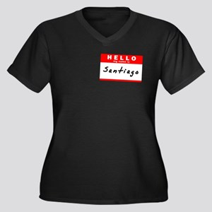 Santiago, Name Tag Sticker Women's Plus Size V-Nec