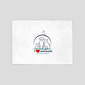 i love animals so i don't eat t 5'x7'Area Rug
