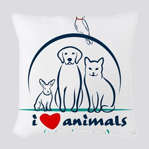 i love animals so i don't Woven Throw Pillow