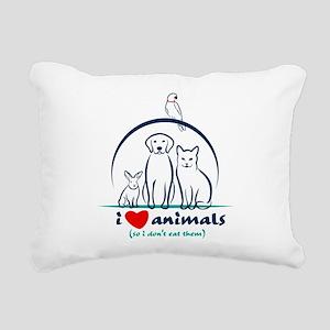 i love animals so i don& Rectangular Canvas Pillow