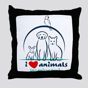 i love animals so i don't eat the Throw Pillow