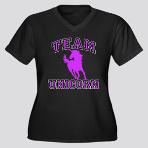 Team Unicorn Women's Plus Size V-Neck Dark T-Shirt
