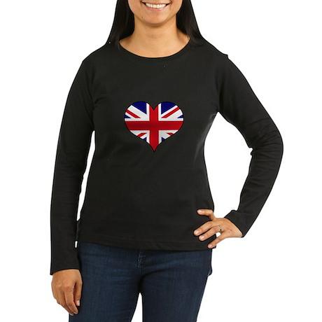 British Flag Heart Women's Long Sleeve Dark T-Shir