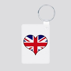 British Flag Heart Aluminum Photo Keychain