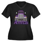 Trucker Anita Women's Plus Size V-Neck Dark T-Shir