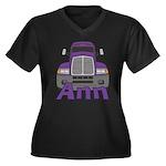 Trucker Ann Women's Plus Size V-Neck Dark T-Shirt