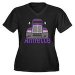 Trucker Annette Women's Plus Size V-Neck Dark T-Sh