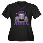 Trucker Annie Women's Plus Size V-Neck Dark T-Shir