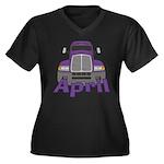 Trucker April Women's Plus Size V-Neck Dark T-Shir
