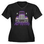 Trucker Arlene Women's Plus Size V-Neck Dark T-Shi