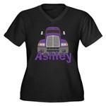 Trucker Ashley Women's Plus Size V-Neck Dark T-Shi