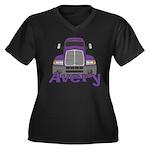 Trucker Avery Women's Plus Size V-Neck Dark T-Shir