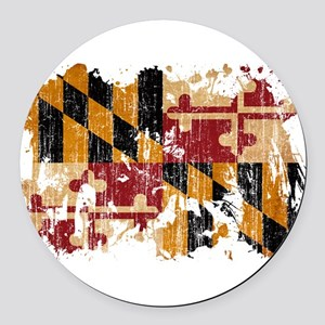 Maryland Flag Round Car Magnet