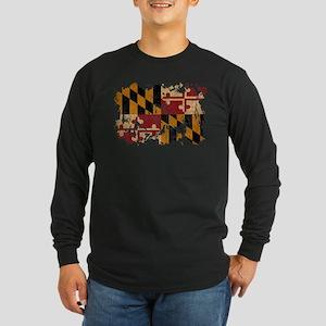 Maryland Flag Long Sleeve Dark T-Shirt