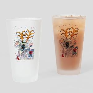 Holiday Schnauzer Drinking Glass