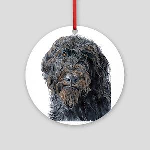 Black Labradoodle Pokey Ornament (Round)