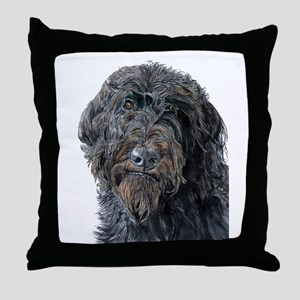 Black Labradoodle Pokey Throw Pillow