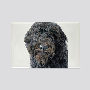 Black Labradoodle Pokey Rectangle Magnet