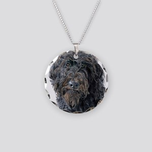 Black Labradoodle Pokey Necklace Circle Charm