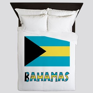 Bahamas Flag Word Queen Duvet