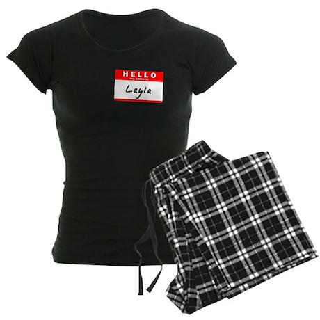 Layla, Name Tag Sticker Women's Dark Pajamas