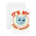1st Birthday kitty Greeting Card