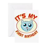 1st Birthday kitty Greeting Cards (Pk of 10)