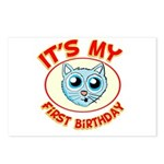 1st Birthday kitty Postcards (Package of 8)