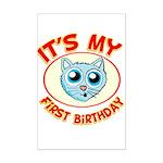 1st Birthday kitty Mini Poster Print