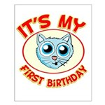 1st Birthday kitty Small Poster