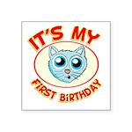 1st Birthday kitty Square Sticker 3