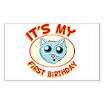1st Birthday kitty Sticker (Rectangle 50 pk)