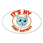1st Birthday kitty Sticker (Oval 50 pk)
