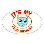 1st Birthday kitty Sticker (Oval 10 pk)