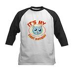 1st Birthday kitty Kids Baseball Jersey